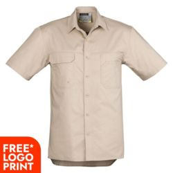 SYZMIK Mens Light Weight Tradie Shirt Short Sleeve Thumbnail