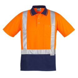 SYZMIK Mens Hi Vis Spliced Polo - Short Sleeve Shoulder Taped Thumbnail