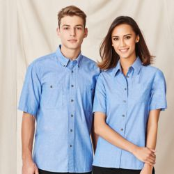 BIZ COLLECTION Mens Wrinkle Free Chambray Short Sleeve Shirt Thumbnail
