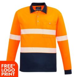 Unisex Hi Vis Segmented L/S Polo - Hoop Taped Thumbnail