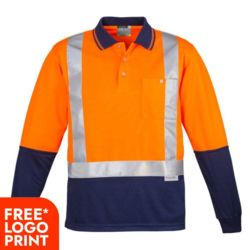 SYZMIK Mens Hi Vis Spliced Polo - Long Sleeve Shoulder Taped Thumbnail