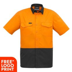 SYZMIK Mens Rugged Cooling Hi Vis Spliced S/S Shirt Thumbnail