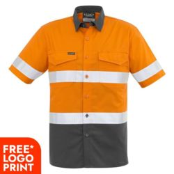 SYZMIK Mens Rugged Cooling Taped Hi Vis Spliced S/S Shirt Thumbnail
