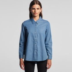 AS COLOUR Women Blue Denim Shirt Thumbnail