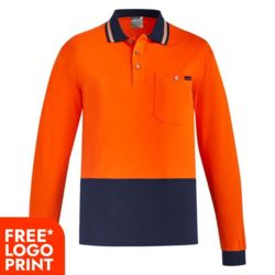 SYZMIK Mens Hi Vis Cotton L/S Polo Thumbnail