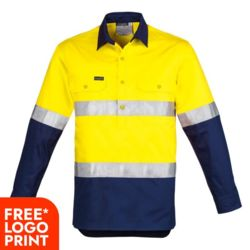 SYZMIK Mens Hi Vis Closed Front L/S Shirt - Hoop Taped Thumbnail